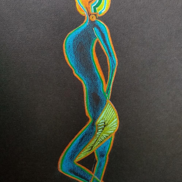 Rainbow colored womans body
