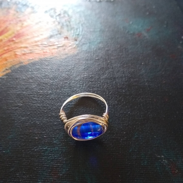 Blue glass bead vintage ring